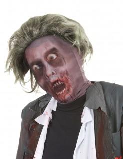 Zombie Strumpfmaske mit Perücke Halloween Kostümaccessoire grau-grün-rot