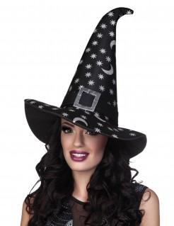 Halloween-Hexenhut mit silbernen Sternen schwarz-grau