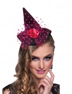 Rosafarbener Mini-Hexenhut für Damen rosa