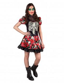 Dia de los Muertos Halloween-Teenkostüm schwarz-rot-weiss