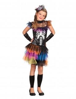 Kleines Skelett-Mädchen Halloween-Kinderkostüm bunt