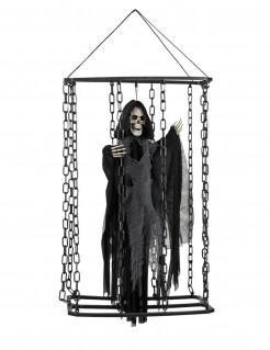 Halloween-Dekoration Sensenmann im Käfig zum Aufhängen schwarz 50 cm