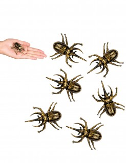 Schaurige Käfer Halloween Party-Deko 6 Stück gold-schwarz 6x5cm