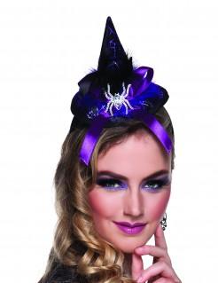 Mini-Hexenhut mit Spinne für Damen zu Halloween