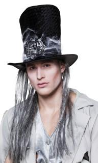 Hoher Zylinder mit Totenschädel und Haaren für Erwachsene schwarz-grau