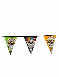 Tag der Toten Wimpelgirlande Halloween-Deko bunt 10m Wimpel 25 x 36 cm