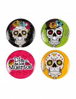 Tag der Toten Plaketten Halloween Buttons 4 Stück bunt 3cm