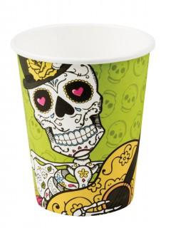 Tag der Toten Becher Halloween Tisch-Deko 6 Stück bunt 250ml