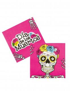 Partyservietten Dia de los Muertos Serviette 12 Stück pink-bunt 33x33cm