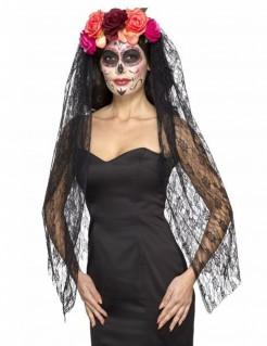 Dia de los Muertos Kopfschmuck mit Schleier und Blumen schwarz-bunt