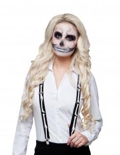Skelett-Hosenträger schwarz - weiss