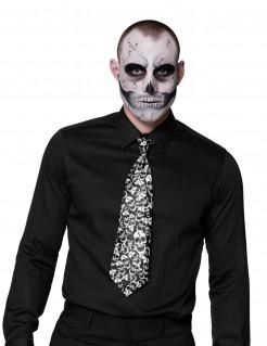 Halloween-Krawatte mit Totenschädeln Kostüm-Accessoire schwarz-weiss