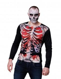 Blutiges Skelett-T-Shirt für Herren Halloween schwarz-rot-grau
