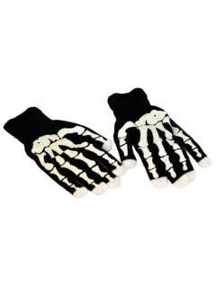 Leuchtende Skelett-Handschuhe Halloween-Accessoire 2 Stück schwarz-weiss