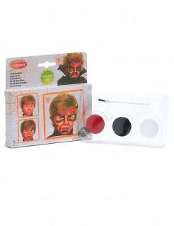 Dämonisches Teufel Halloween-Schminkset für Kinder rot-schwarz