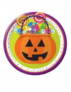 Kinderhalloween-Pappteller Kürbis mit Süssigkeiten 8 Stück bunt 18cm