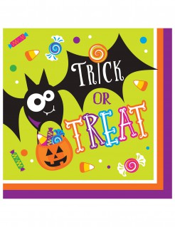 Halloween-Servietten Trick or Treat Papierservietten 16 Stück grün-bunt 33x33cm