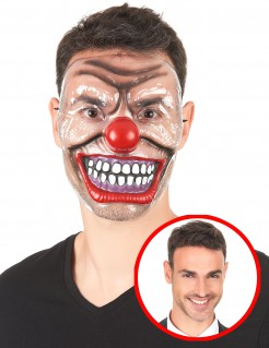 Transparente Clowns-Halbmaske Horrorclown-Halloweenmaske bunt-transparent