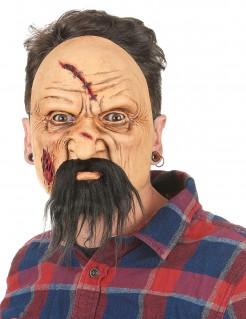 Verletzter Psycho-Mörder Halloween Latex-Maske beige-braun
