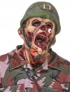 Zombie-Soldat Latexmaske Vollmaske Halloween Kostümaccessoire grün-hautfarben-rot