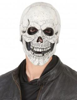 Latex-Maske lachender Halloween-Totenkopf weiss-schwarz