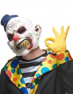 Latex-Maske zähnefletschender Halloween-Clown weiss-bunt