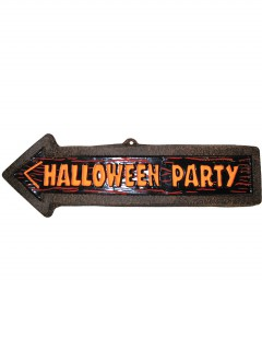 Halloween-Wanddekoration Wegweiser zur Party 57 x 19 cm braun-orange