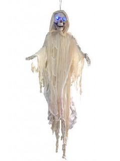 Leuchtende Halloween-Dekoration weißes Skelett zum Aufhängen, 150 cm