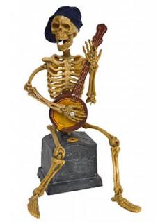 Grusel Skelett mit Banjo animiert mit Sound und Leuchtaugen Halloween-Deko beige-braun 30cm