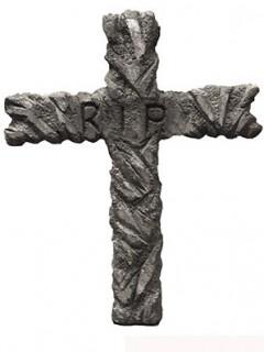 Friedhofs-Kreuz Halloween-Deko mit R.I.P. Schriftzug grau 67 x 52cm