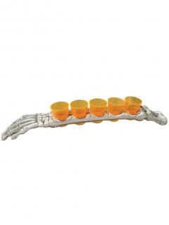 Schnapsbecher Set Horror Arm Tischdeko 6-teilig orange-weiss 48cm