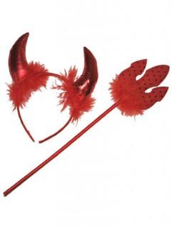 Sexy Teufelin Accessoire-Set mit Dreizack und Hörnern 2-teilig rot