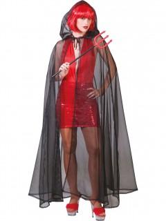 Schwarz/durchsichtiger Umhang für Erwachsene Halloween schwarz