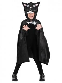 Lustiger Katzen-Umhang Halloween-Kinderaccessoire schwarz-weiss-rosa 75cm