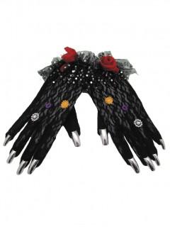 Dia de los Muertos Halloween-Handschuhe Kostüm-Accessoire schwarz-bunt