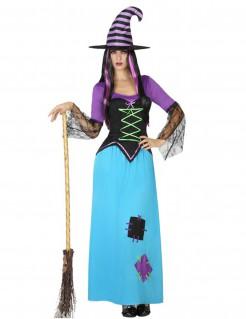 Klassische Märchen-Hexe Damenkostüm hellblau-lila