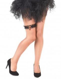 Schwarzes Strumpfband mit Kunstedelstein für Damen Halloween schwarz