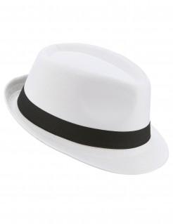Borsalino mit Band Fedora Gangster-Hut weiss- schwarz
