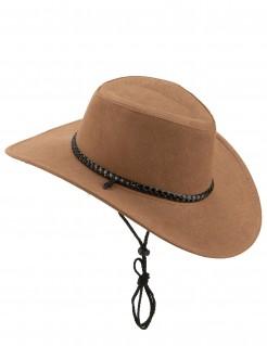 Abenteurer-Hut Cowboyhut aus Wildlederimitat braun