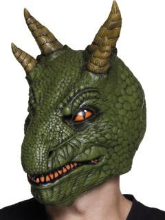 Dinosaurier-Maske Halloween-Maske grün-orange