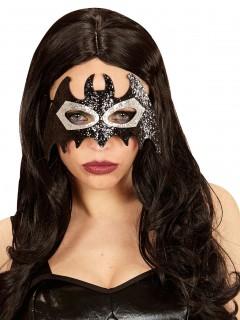 Glitzernde Fledermaus Augenmaske schwarz-silber