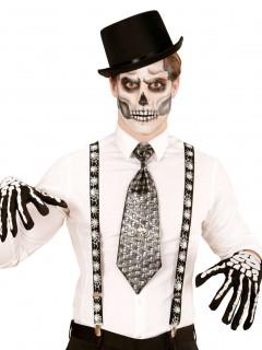 Spinnen Hosenträger Halloween schwarz-weiss