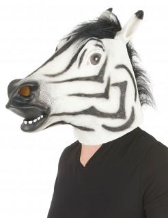 Schaurige Zebra-Maske Vollmaske Halloween weiss-schwarz