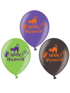 Luftballon-Set für Halloween Happy Halloween 6 Stück grün-lila-schwarz 27cm