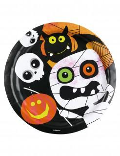 Halloween Teller Kinderhalloween Tischdeko 8 Stück schwarz-weiss-orange 23cm