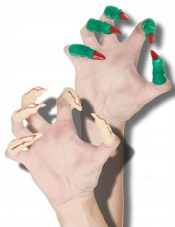 Halloween Finger Hexenkrallen 20 Stück hautfarben-grün-rot 5 bis 6,5cm