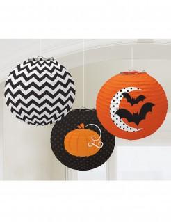 Süsse Lampions Halloween Partydeko-Set 3 Stück orange-schwarz-weiss 24cm
