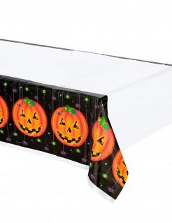 Kürbis Halloween Tischdecke schwarz-orange-weiss