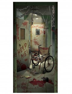 Türdekoration Blutiges Irrenhaus für Halloween grau-rot 85 x 165 cm