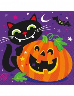 Halloween-Servietten Katzen und Kürbis Papierservietten 16 Stück lila-orange-schwarz 16,5x16,5cm